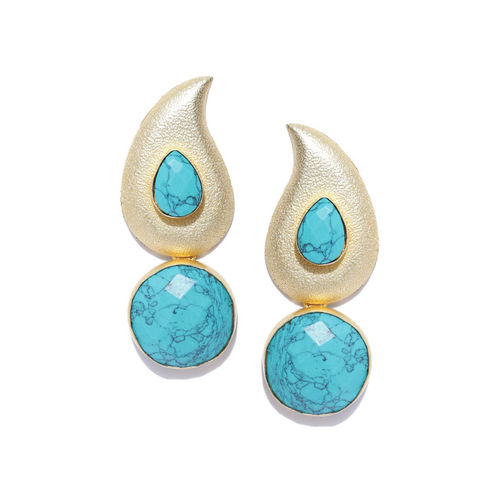 PANASH Gold-Toned & Turquoise Blue Paisley Shaped Drop Earrings