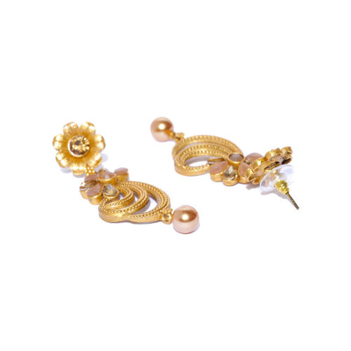 PANASH Gold Plated Floral Drop Earrings