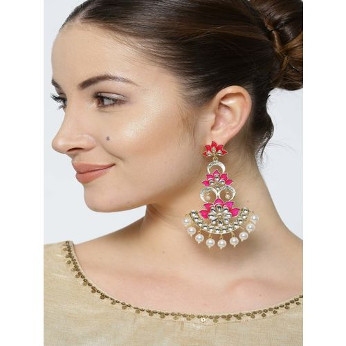 PANASH Pink & Off-White Gold-Plated Handcrafted Floral Drop Earrings