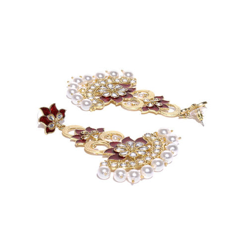 PANASH Red & Off-White Gold-Plated Handcrafted Floral Drop Earrings