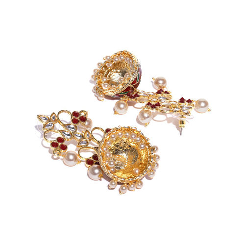 PANASH Maroon & Off-White Gold-Plated Handcrafted Dome-Shaped Jhumkas