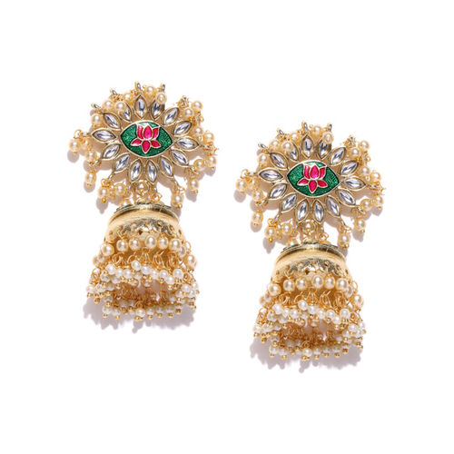 PANASH Green & Off-White Gold-Plated Handcrafted Dome-Shaped Jhumkas