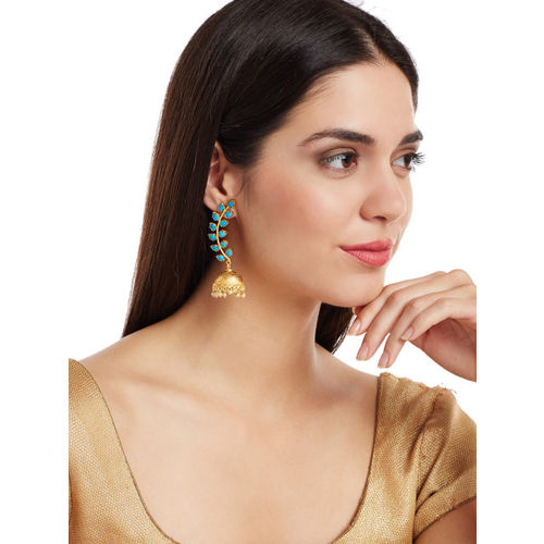 PANASH Gold-Plated & Turquoise Blue Dome-Shaped Jhumkas