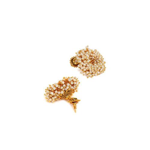 PANASH Gold-Toned & Off-White Circular Jhumkas