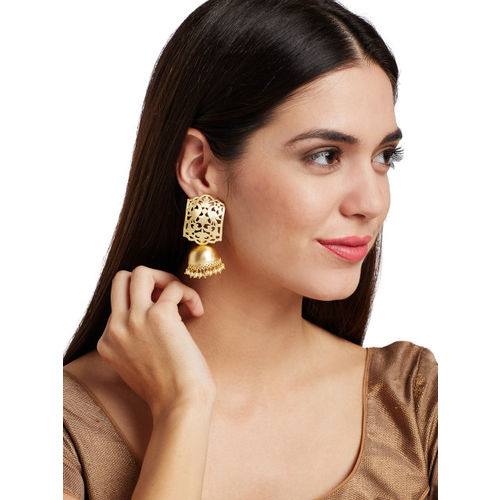PANASH Gold-Plated & White Dome-Shaped Jhumkas