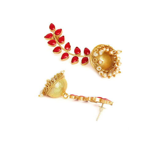PANASH Gold-Plated & Red Dome-Shaped Jhumkas