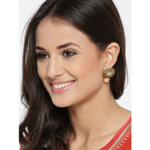 PANASH Gold-Plated Circular Stone-Studded Drop Earrings