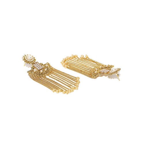 PANASH Off-White Gold-Plated Stone-Studded Chandelier Earrings