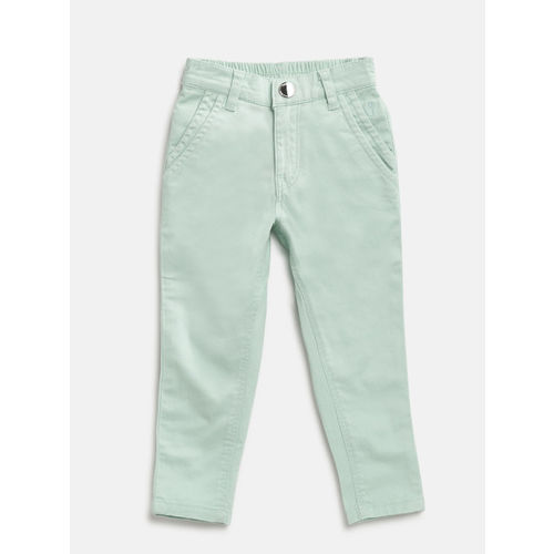 Gini and Jony Girls Mint Green Solid Trousers