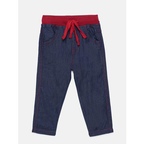 612 league Girls Blue Regular Fit Solid Regular Trousers