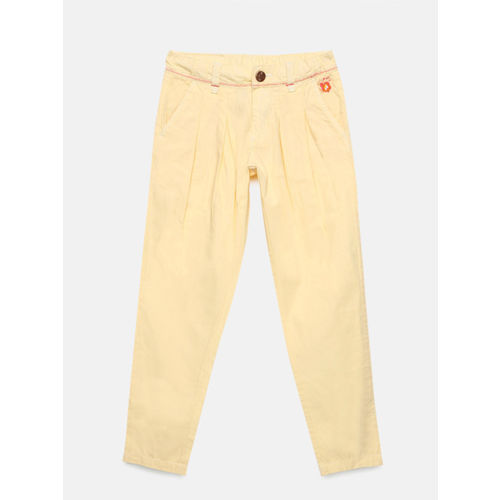 UFO Girls Cream-Coloured Regular Fit Solid Peg Trousers