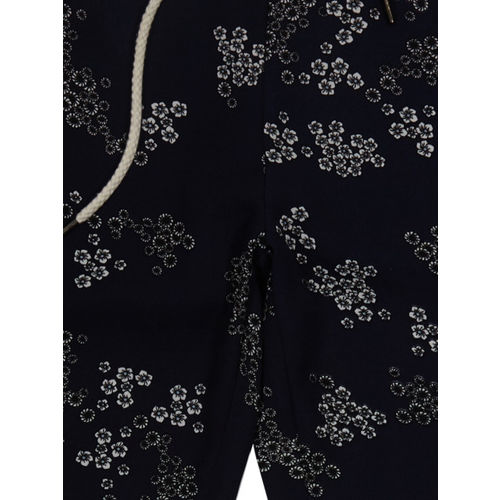 Palm Tree Girls Navy Regular Fit Printed Trousers