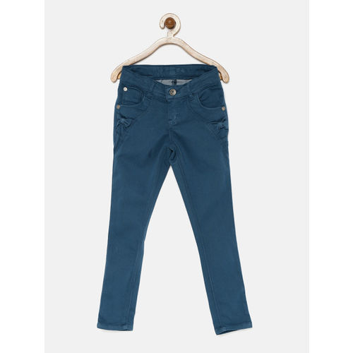 Palm Tree Girls Teal Flat-Front Trousers