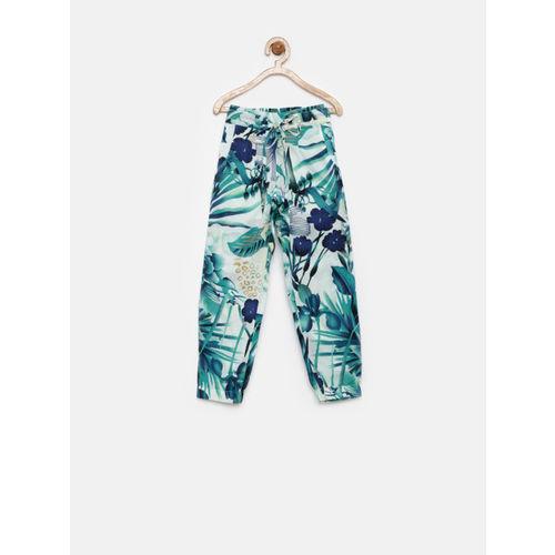 Gini and Jony Giny & Jony Girls Teal Green & Navy Printed Trousers
