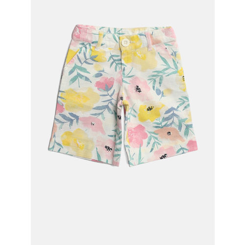 United Colors of Benetton Girls Off-White & Pink Floral Print Regular Trousers