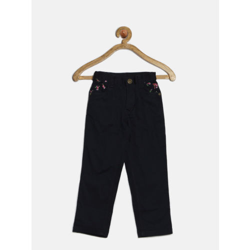 Palm Tree Girls Navy Casual Trousers