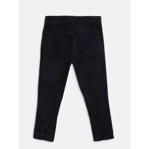 Gini and Jony Girls Navy Blue Regular Fit Solid Trousers