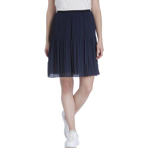 Vero Moda Solid Women Pleated Blue Skirt
