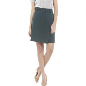 Vero Moda Solid Women Regular Green Skirt
