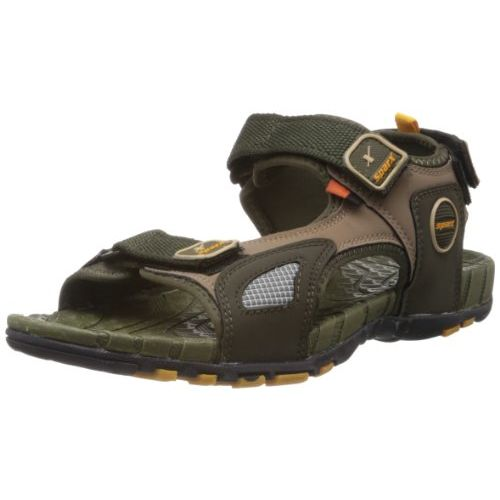 Sparx Men's Olive and Yellow Athletic and Outdoor Sandals - 7 UK (SS-604)