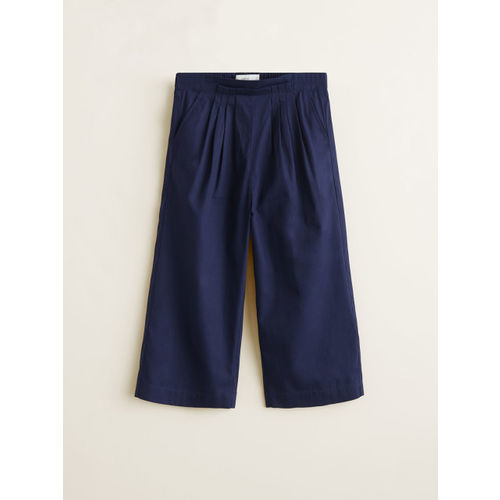 Mango Kids Girls Navy Regular Fit Solid Parallel Trousers