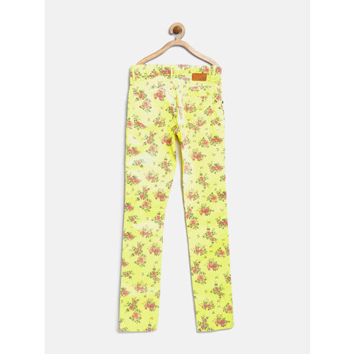 Palm Tree by Gini & Jony Girls Yellow Floral Print Trousers