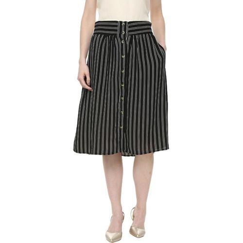 People Striped Women A-line Black Skirt