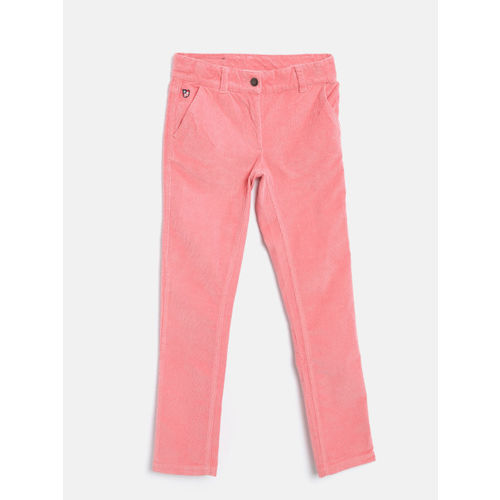 U.S. Polo Assn. Kids Girls Coral Pink Regular Fit Solid Corduroy Trousers