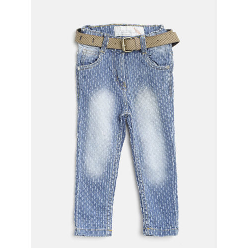 Little Kangaroos Girls Blue Faded Chambray Regular Trousers with Belt
