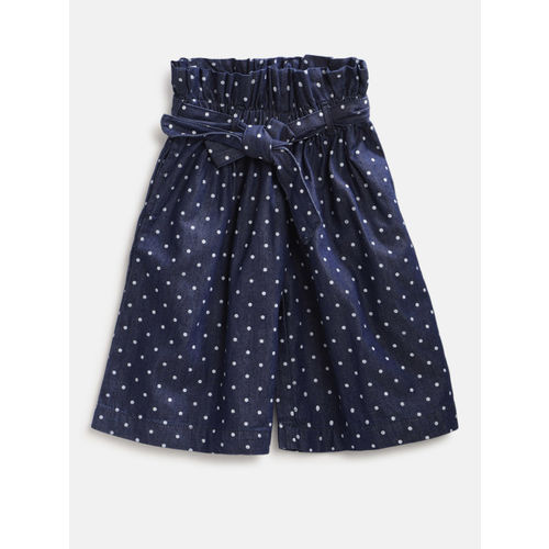 United Colors of Benetton Girls Navy Blue & White Printed Chambray Regular Trousers
