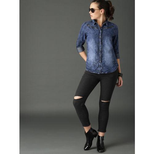 Roadster Women Blue Regular Fit Faded Denim Shirt