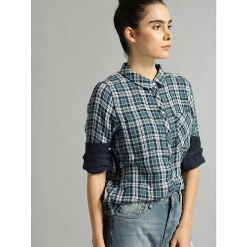Roadster Women Blue & Grey Checked Casual Shirt