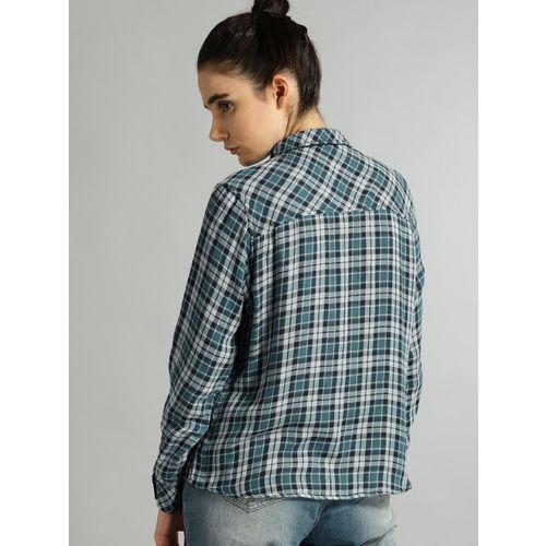 Roadster Women Blue & Grey Checked Casual Shirt
