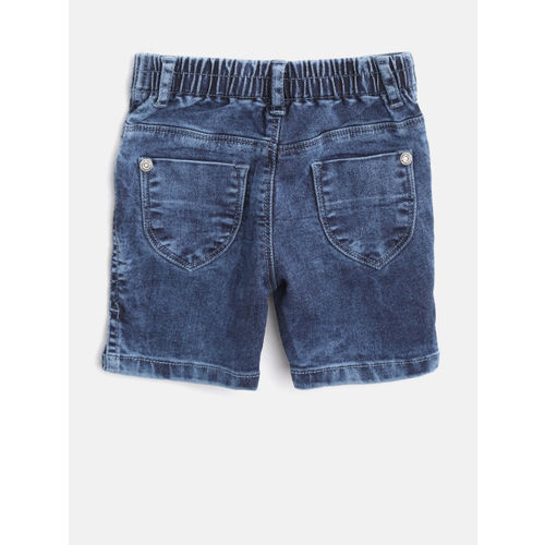 Palm Tree Girls Navy Blue Washed Regular Fit Capris