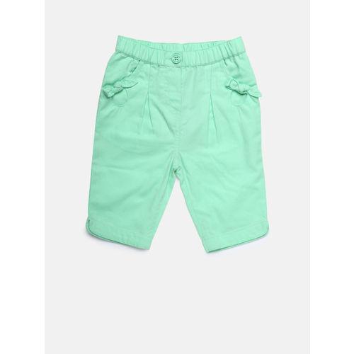 MINI KLUB Girls Sea Green Solid Capris