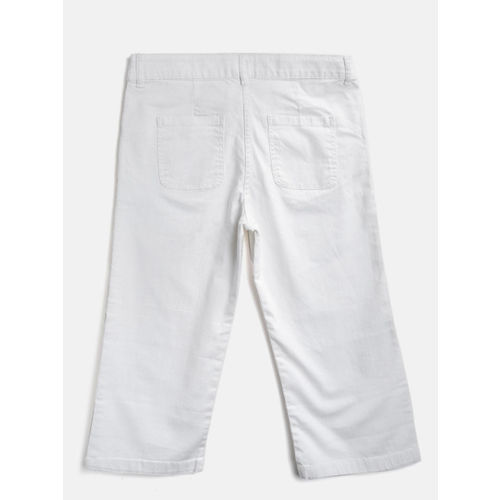 United Colors of Benetton Girls White Solid Regular Fit Denim Capris
