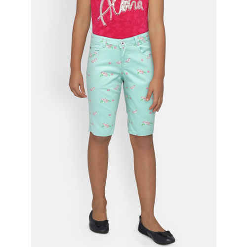Palm Tree Girls Sea Green Printed Slim Fit Capris
