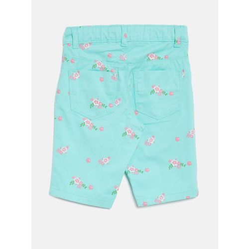 Palm Tree Girls Sea Green & Pink Printed Regular Fit Capris