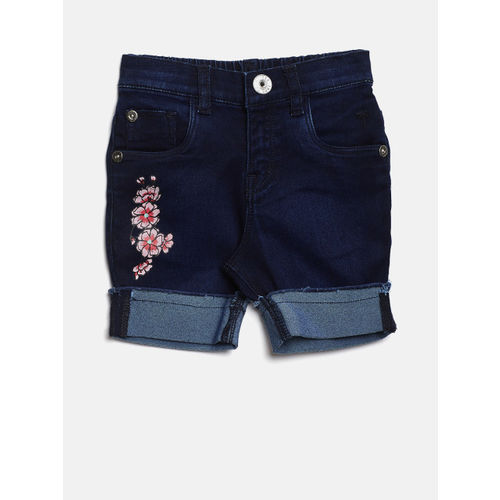 Palm Tree Girls Navy Blue Solid Regular Fit Capris