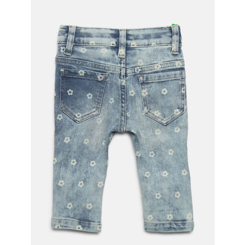 United Colors of Benetton Girls Blue Washed Printed Skinny Fit Denim Capris