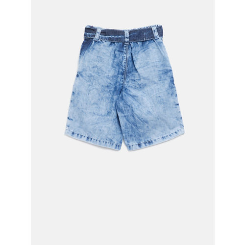 Palm Tree Girls Blue Washed Regular Fit Capris