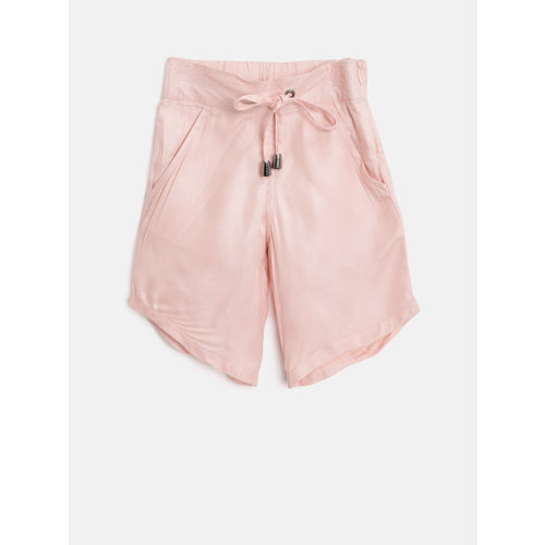 Gini and Jony Girls Pink Solid Regular Fit Capris