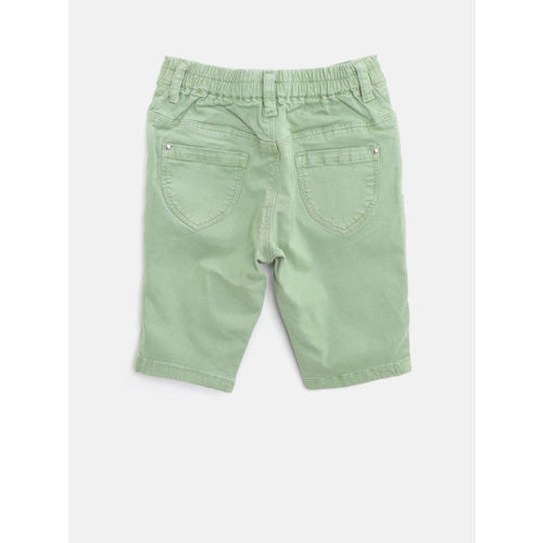 Gini and Jony Girls Olive Green Solid Regular Fit Capris
