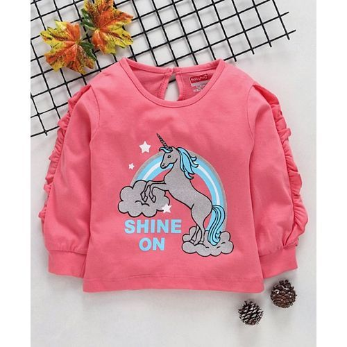 Babyhug Full Sleeves Tee Unicorn Print - Pink