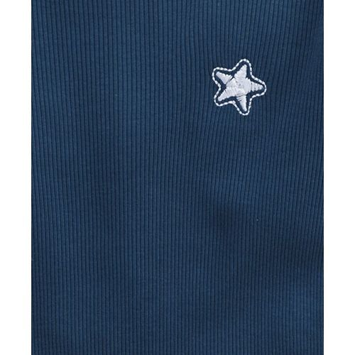 Babyhug Full Sleeves Winter Wear Tee Star Embroidery - Navy