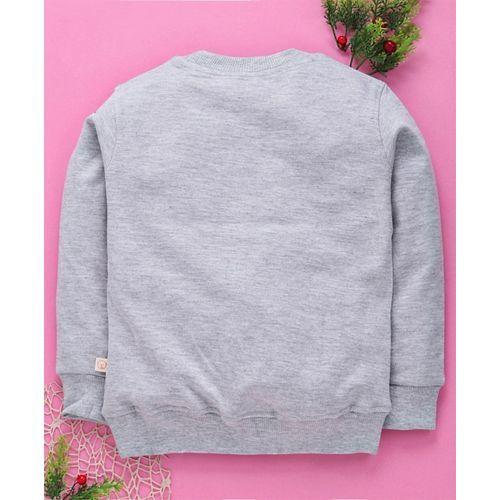 Olio Kids Full Sleeves T-Shirt Cat Print - Grey