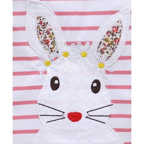 Kookie Kids Full Sleeves Striped Tee Bunny Patch - Pink White