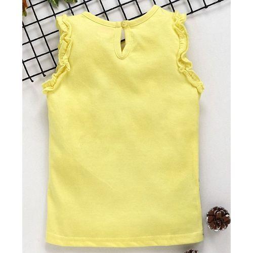 Babyhug Sleeveless Top Butterfly Print - Yellow