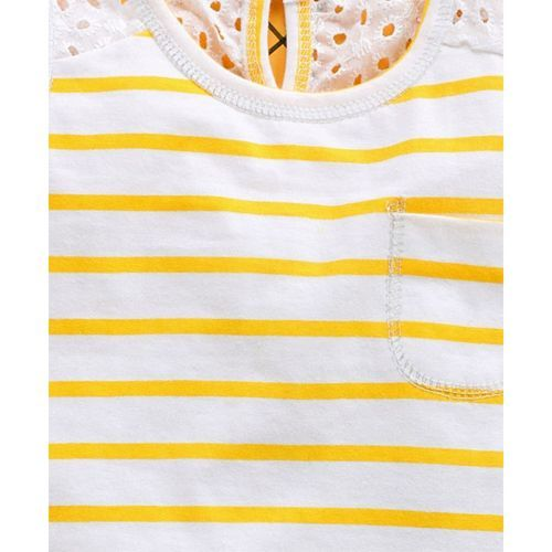 Babyhug Sleeveless Round Neck Striped Top With Lace Detailing - Yellow White