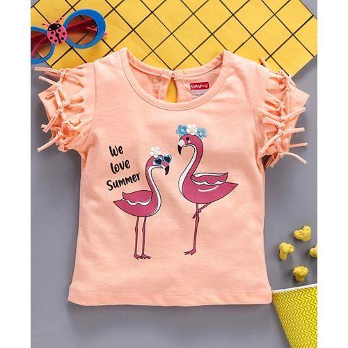 Babyhug Half Sleeves Tee 3D Flamingo Print - Peach
